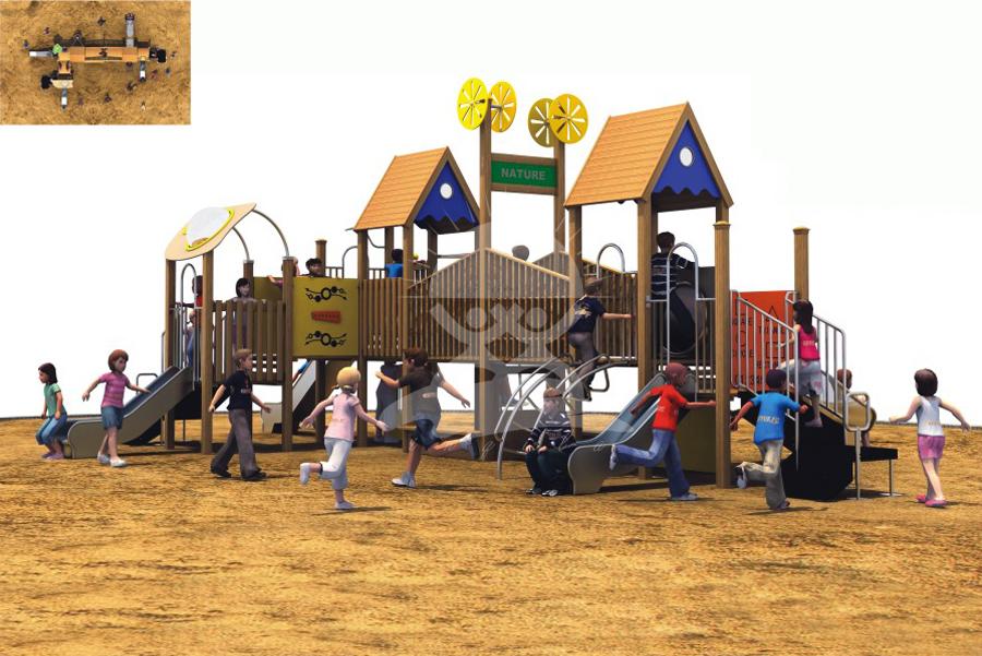 英奇利户外木制滑梯厂家价格定制直销|幼儿园木质儿童